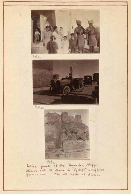 Hindistan'lı muhafızlar Halep Kışlası'nda. ... ele geçirilen bir Alman arabasında. Antep'teki eski kale.